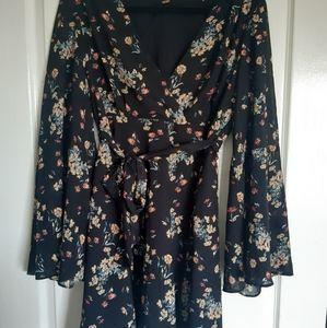 Free People 12-14 floral black dress
